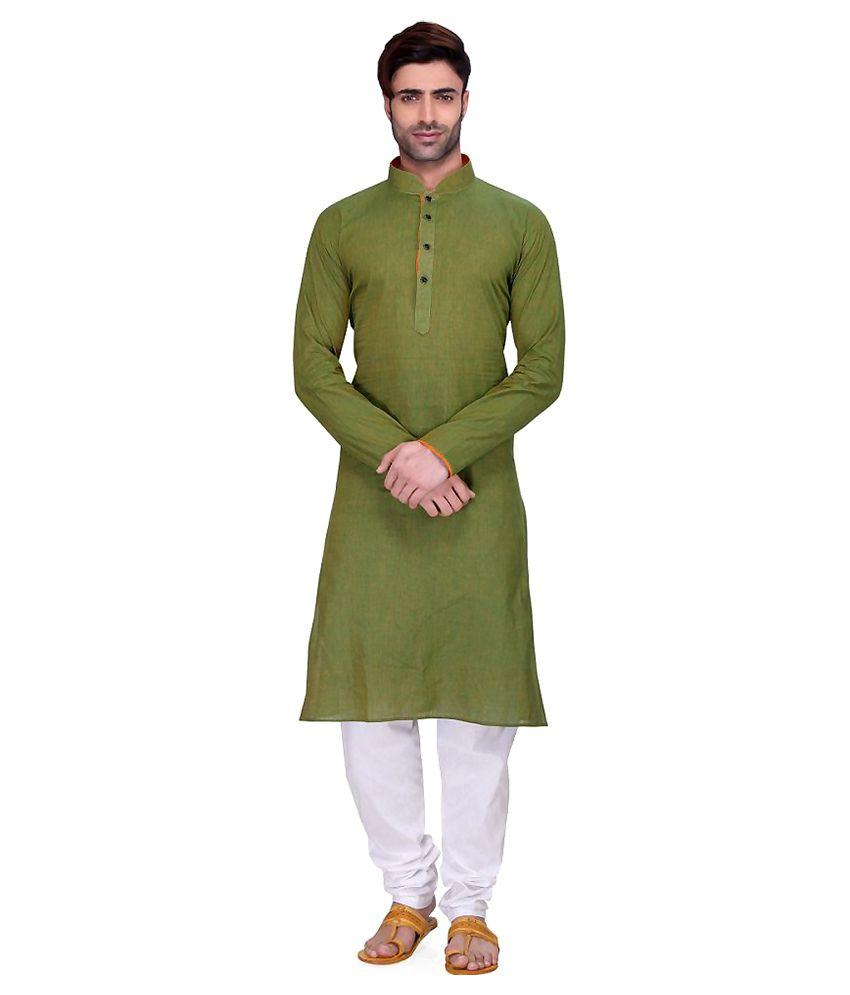 1ec8c735149 RG Designers Green Cotton Kurta Pyjama Set - Buy RG Designers Green Cotton  Kurta Pyjama Set Online at Low Price in India - Snapdeal
