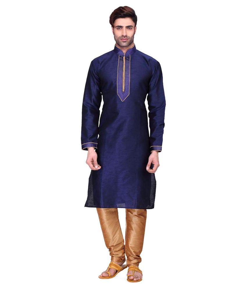 RG Designers Navy Cotton Kurta Pyjama Set