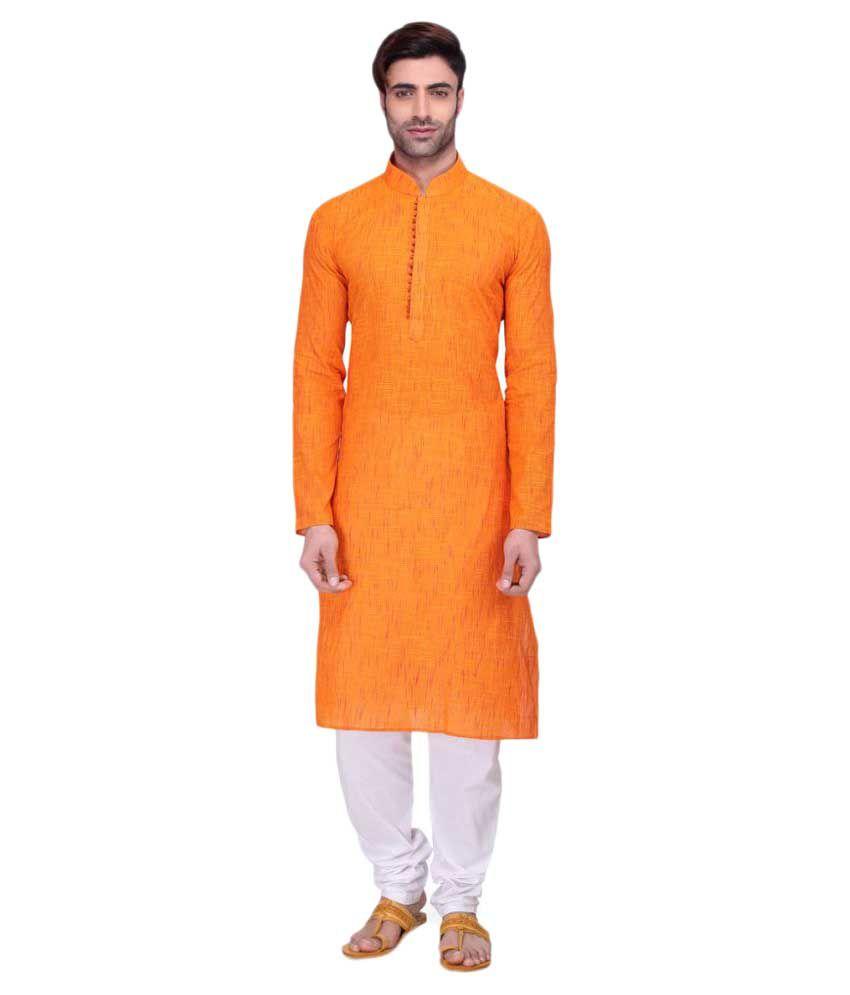 RG Designers Orange Cotton Kurta Pyjama Set
