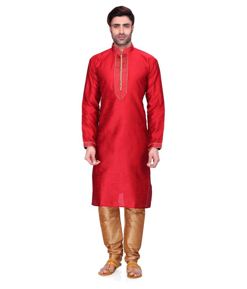 RG Designers Red Cotton Kurta Pyjama Set