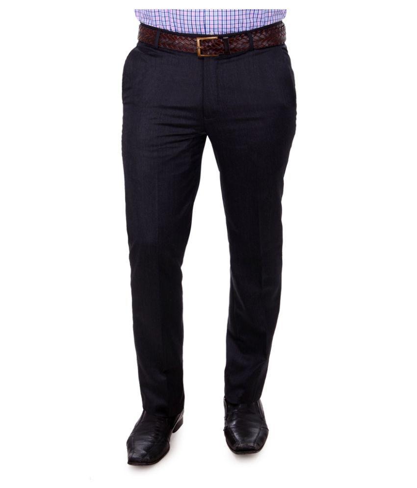 Impressions Navy Blue Slim Flat Trouser