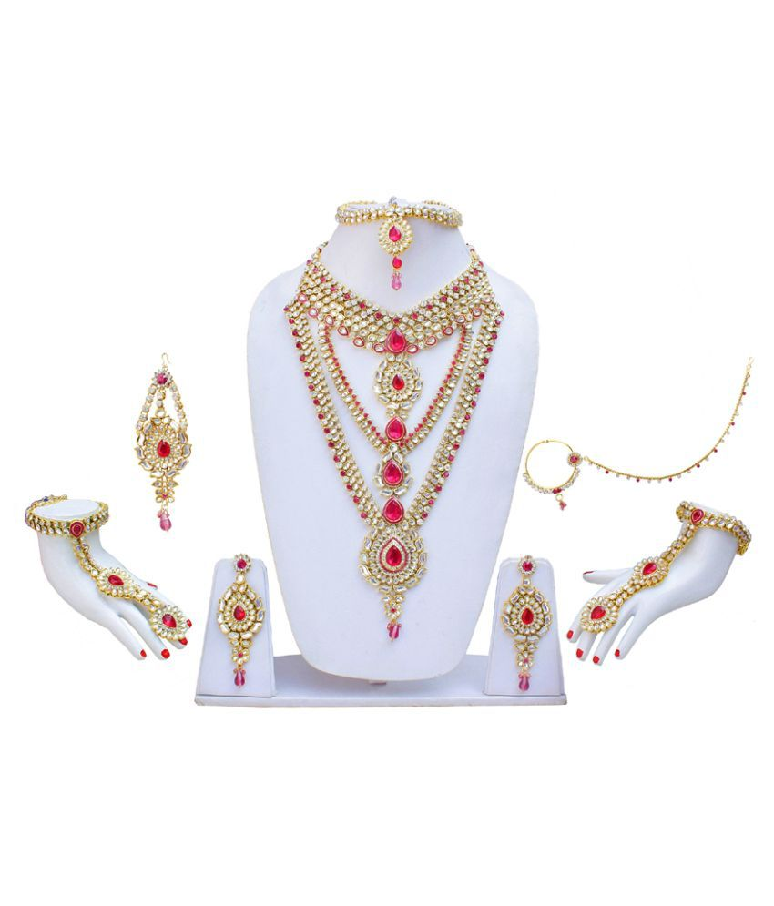 Lucky Jewellery Combo of Golden Necklace Set with Maatha Patti, Pair of Hathphool,Chapka & Bridal Nath