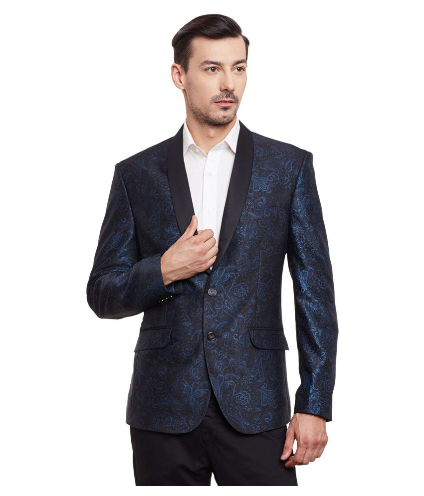 Canary London Navy Printed Casual Tuxedo