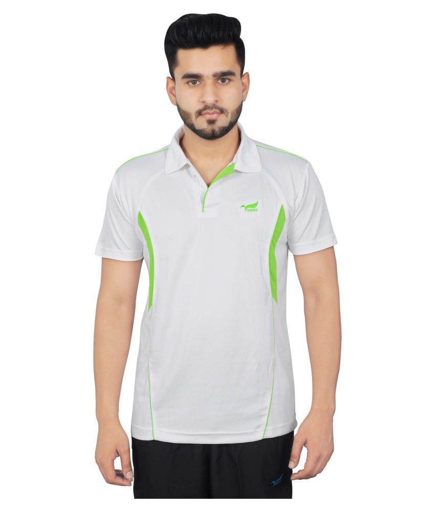 NNN White Polyester Polo T-Shirt for Men