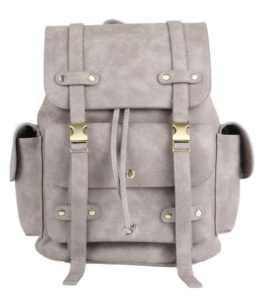 Designer Desk Gray Pure Leather Backpack