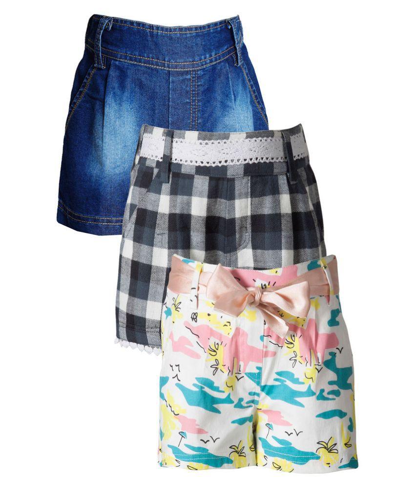 Naughty Ninos Multicolour Cotton Short for Girls - Pack of 3
