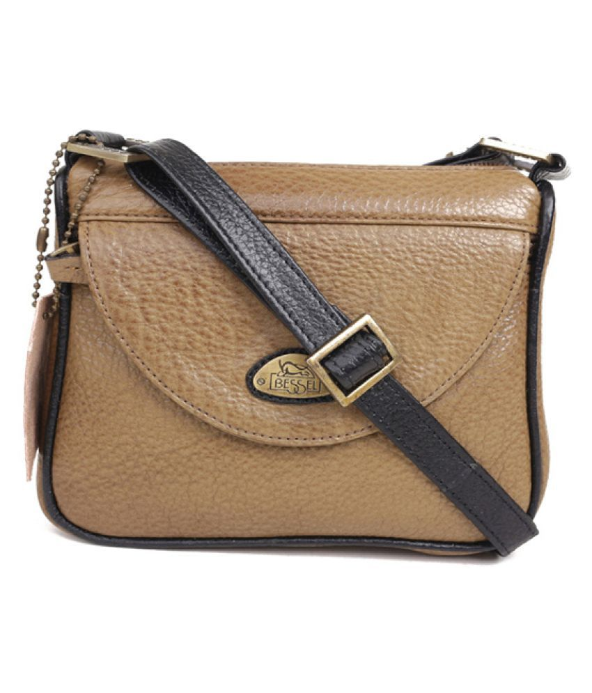 Bessel Beige Pure Leather Sling Bag - Buy Bessel Beige Pure ...