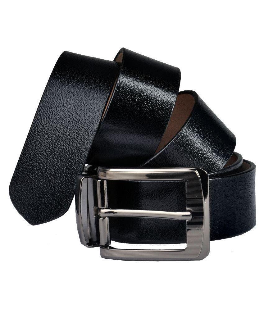 Priya Collection Black Leather Formal Belts