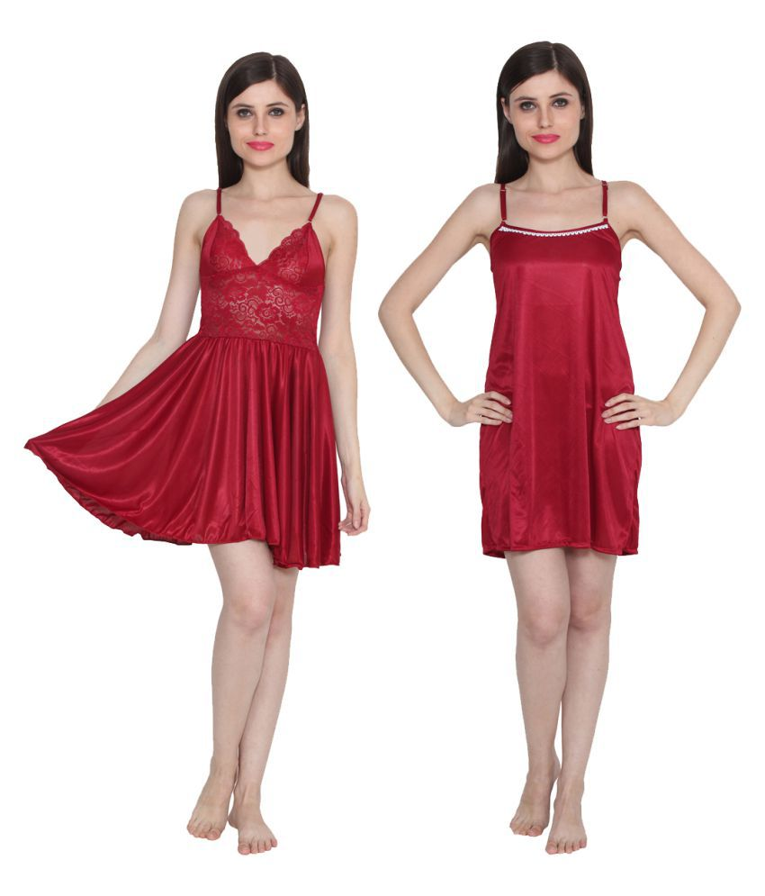 Ansh Fashion Wear Maroon Poly Satin Baby Doll Dresses Without Panty