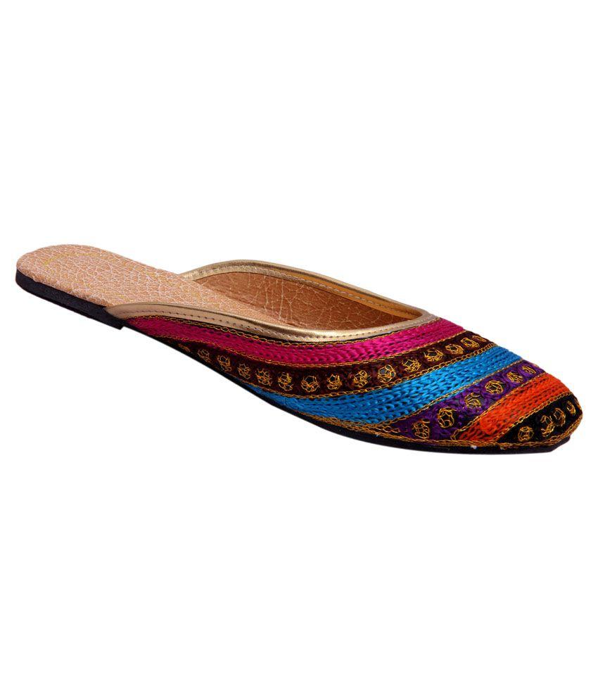 Belleza Multi Color Flat Ethnic Footwear