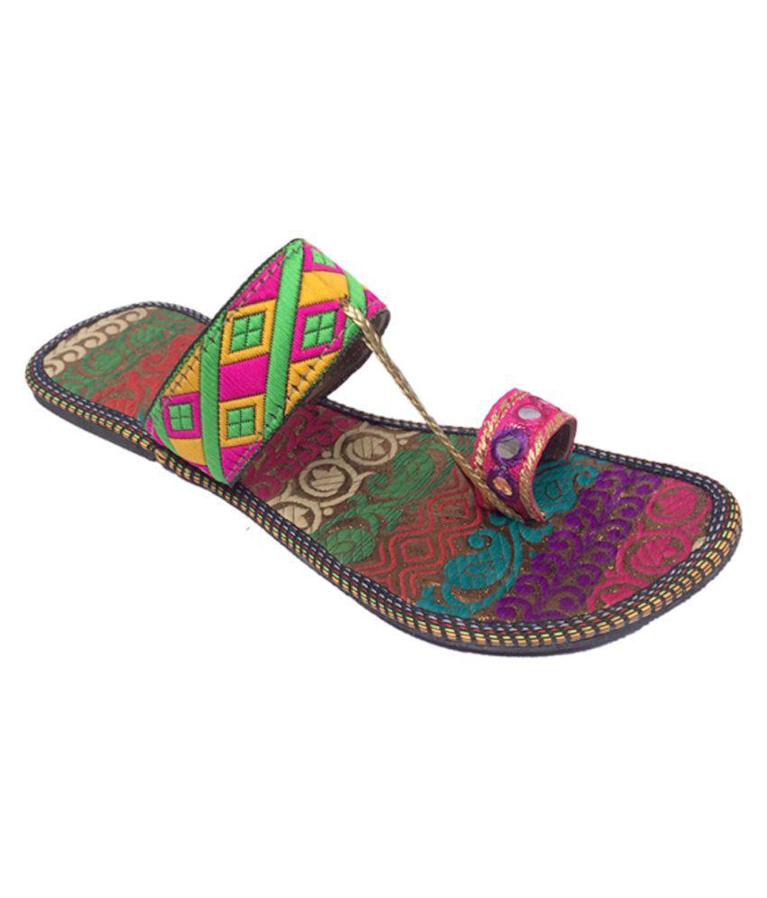 Indcrown Multi Color Platforms Ethnic Footwear