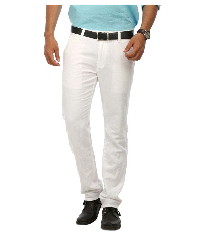 Le Meiux White Regular Flat Trouser