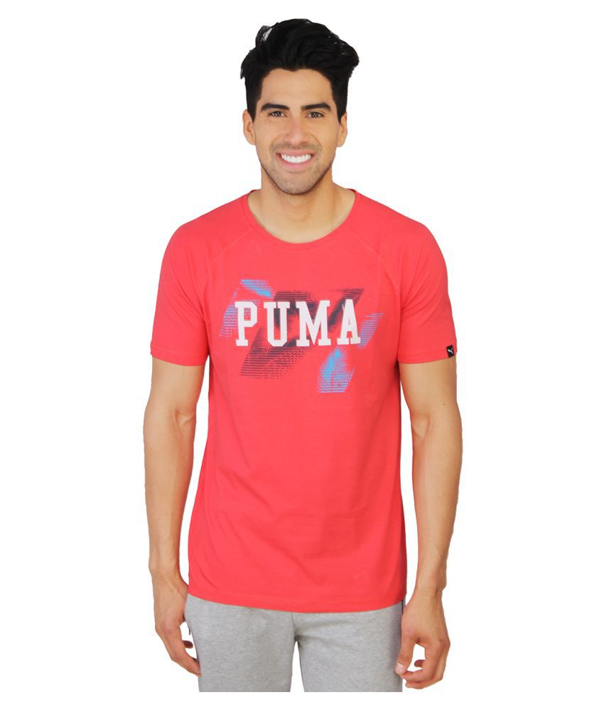 Puma Red Cotton T Shirt