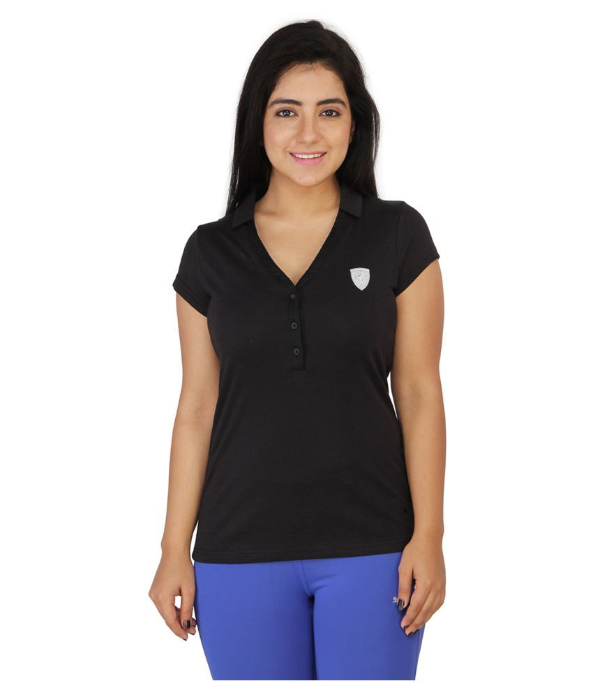Puma Women Solid Black Tshirts