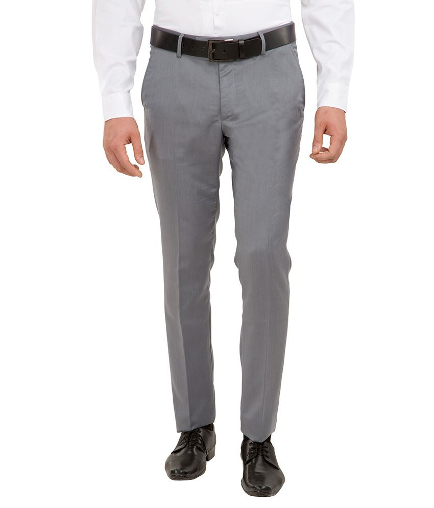 Black Coffee Grey Slim Fit Trousers