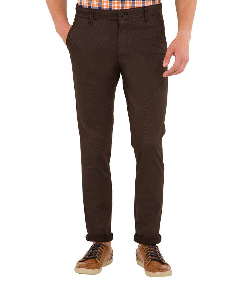 Highlander Brown Slim Fit Trousers