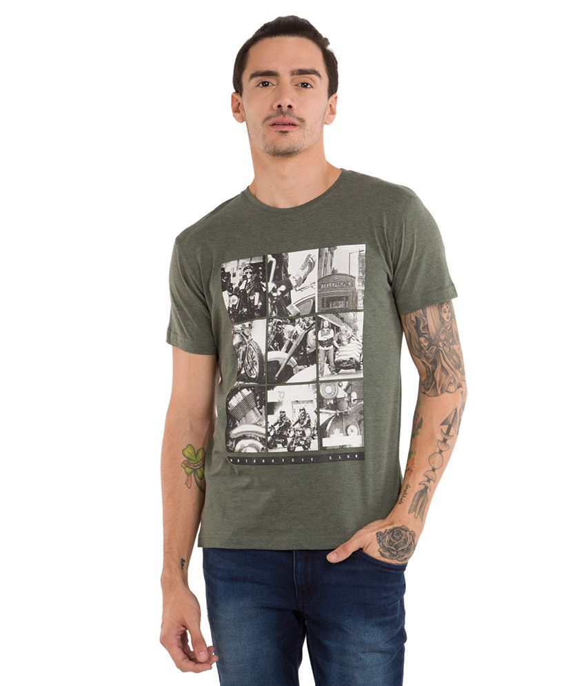 Locomotive Green Round Neck T Shirt