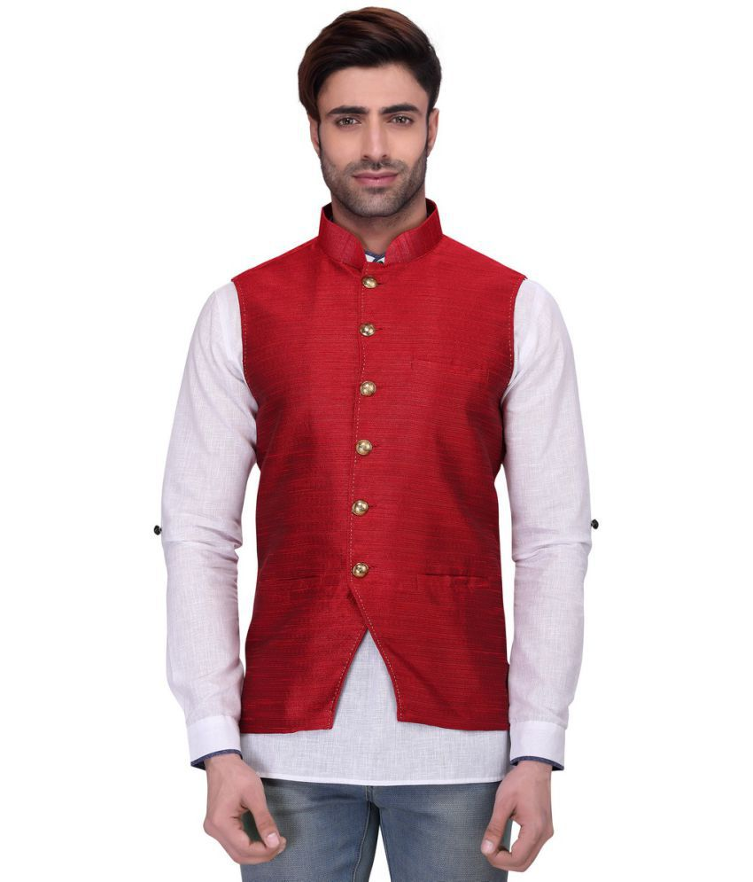 RG Designers Red Silk Nehru Jacket