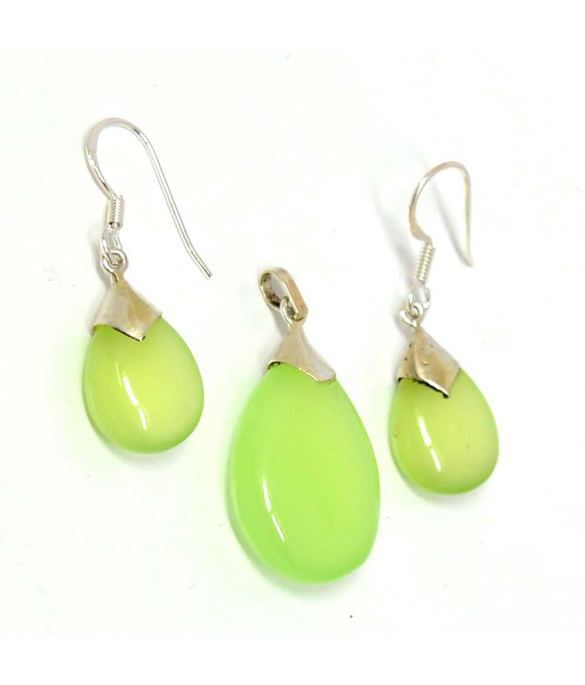 Manirathnum 92.5 Silver Chalcedony Drop Earrings