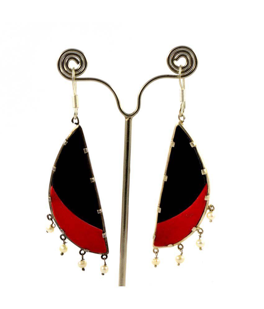 Manirathnum 92.5 Silver Onyx Drop Earrings