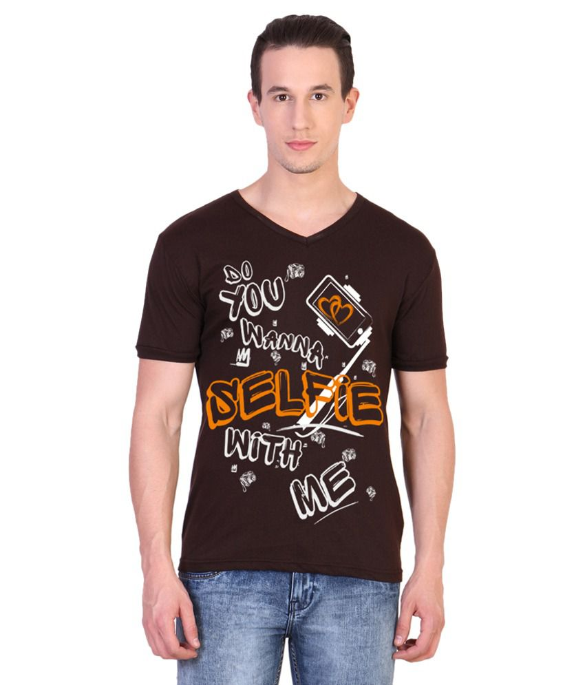 Katsodesigns Brown V-Neck T-Shirt