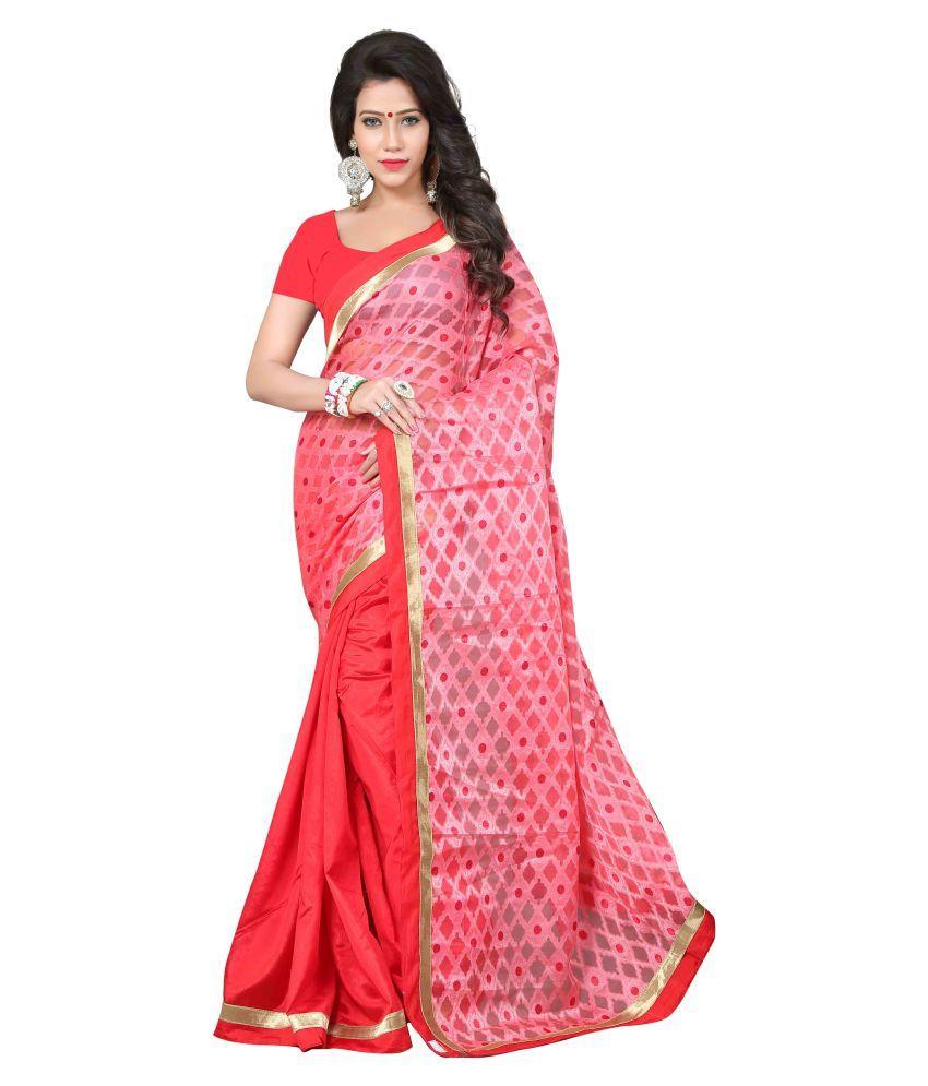 Jay Fashion Red Cotton Silk Saree