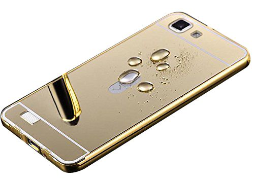 Aart Luxury Metal Bumper + Acrylic Mirror Back Cover Case For SamsungE5 Gold + Flexible Portable Thumb OK Stand