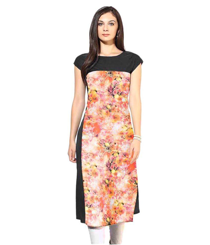 Panchhi Enterprise Multicoloured Crepe Straight Floral Kurti