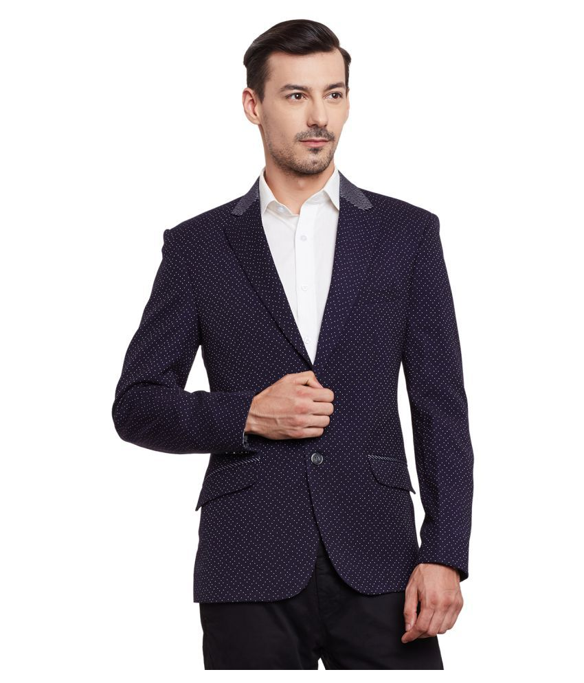 Canary London Blue Printed Casual Tuxedo
