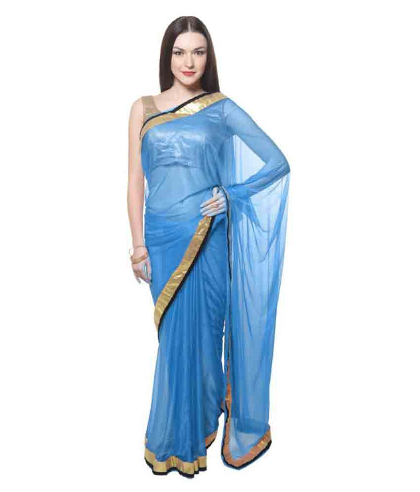 Maxi Fashion Blue Lycra Saree