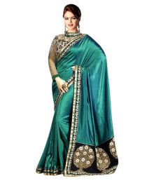 Neerja Fashion Turquoise Satin Saree