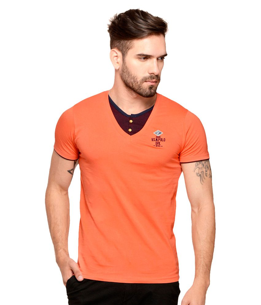 Mode Vetements Orange Round T-Shirt