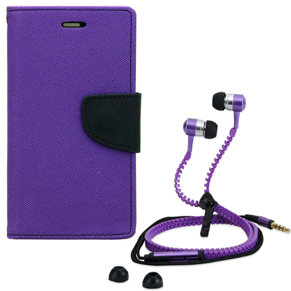 Aart Wallet Flip Case Back Cover For Redmi note 3-(Purple) + Zipper Hands free for all Mobiles By Aart store
