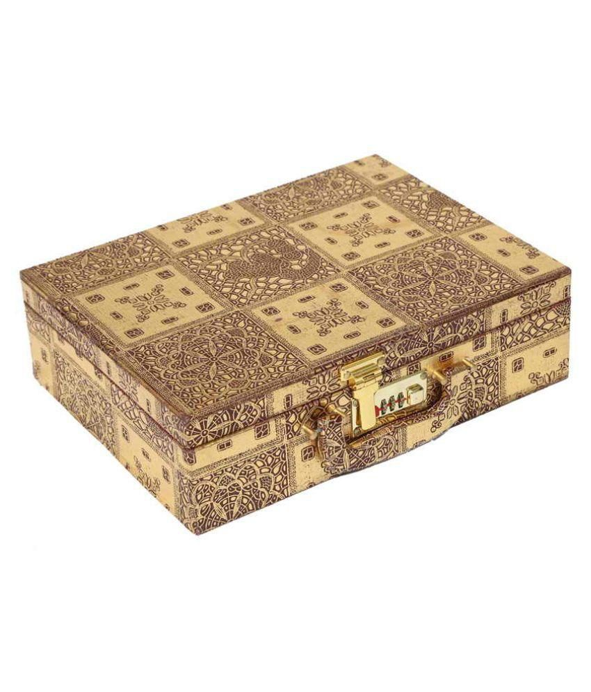 Kuber Industries Golden Bangle Box Three Roll With Lock in Hard Board