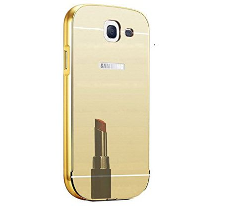 Aart Luxury Metal Bumper + Acrylic Mirror Back Cover Case For Samsung A510 Gold + Flexible Portable Thumb OK Stand