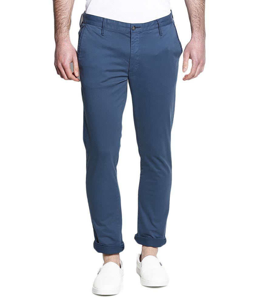 BLACKBERRYS Blue Slim Flat Trouser