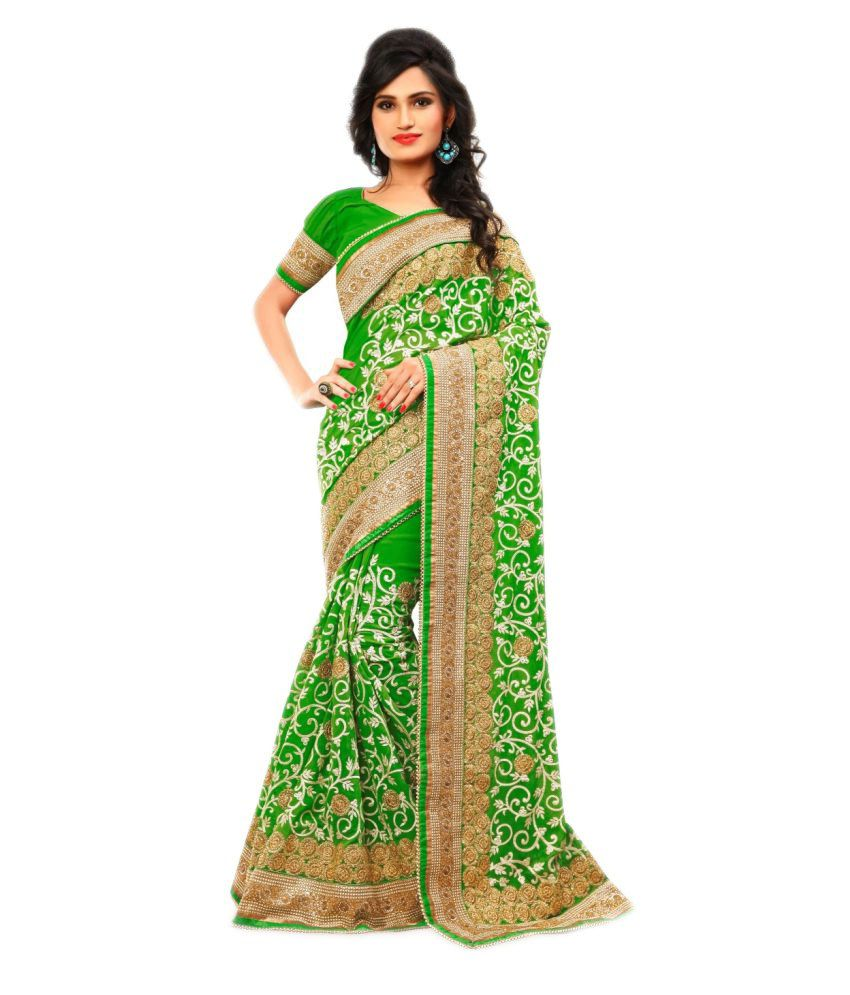 10Der Green Viscose Saree