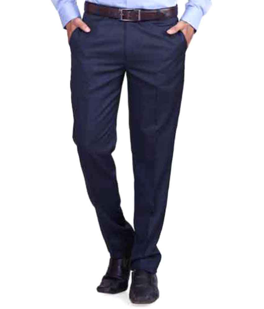 RG Designers Blue Regular Flat Trouser