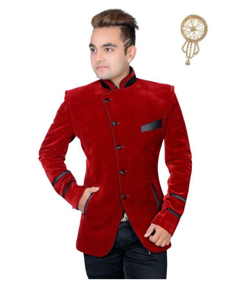 Shaurya-F Red Plain Party Tuxedo Free Broach