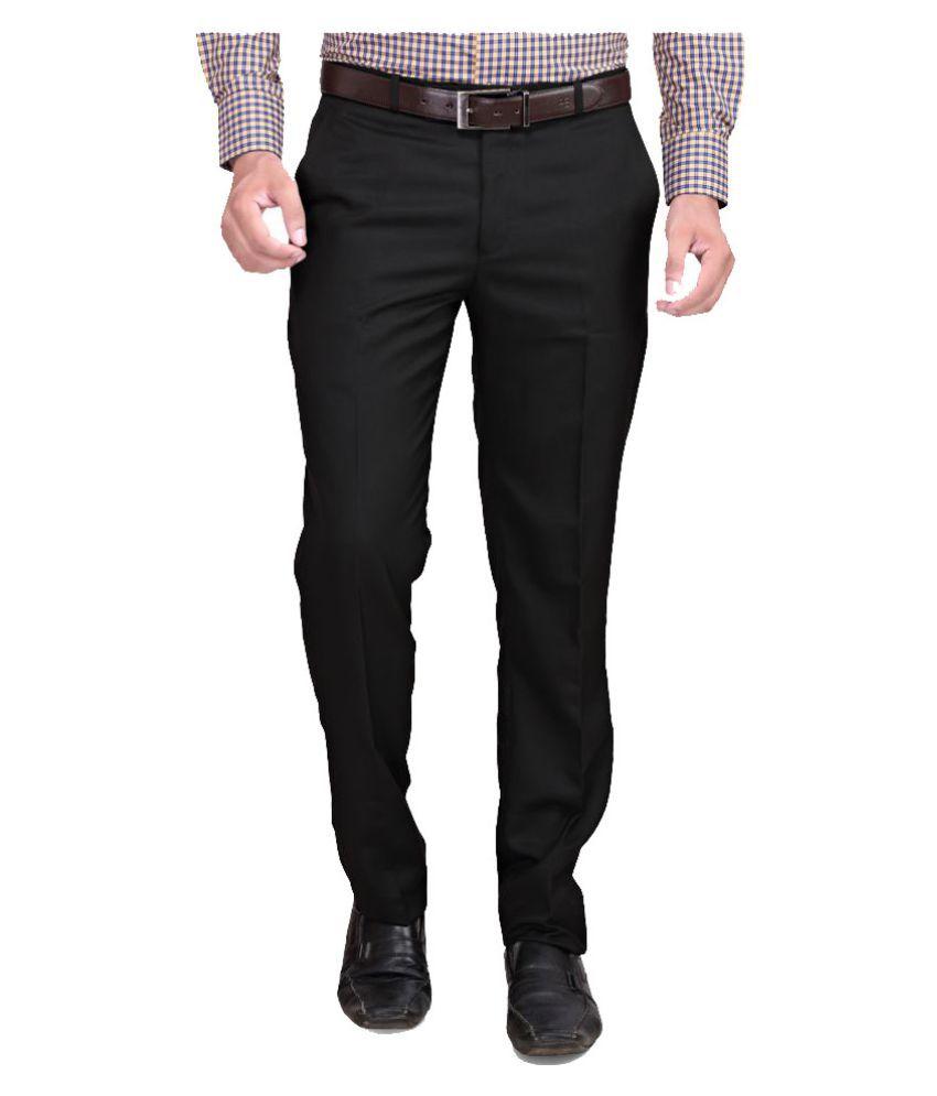 RG Designers Black Regular Flat Trouser