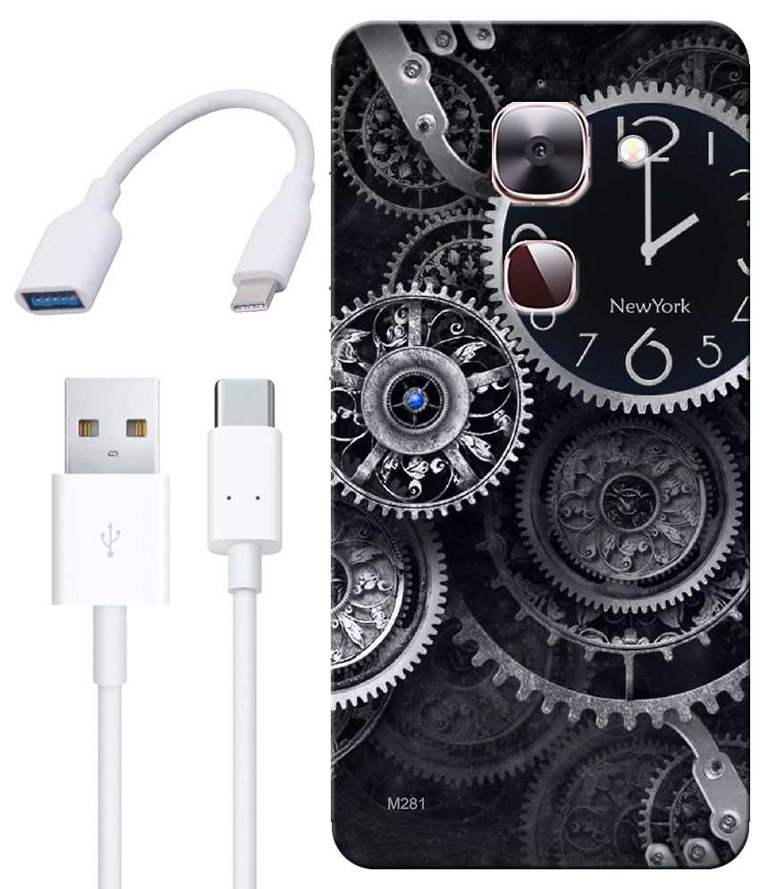 Finest Combo of Wall Clocks HD UV Printed Mobile Back Cover, Charging Cable and OTG Cable For LeEco Le Max 2