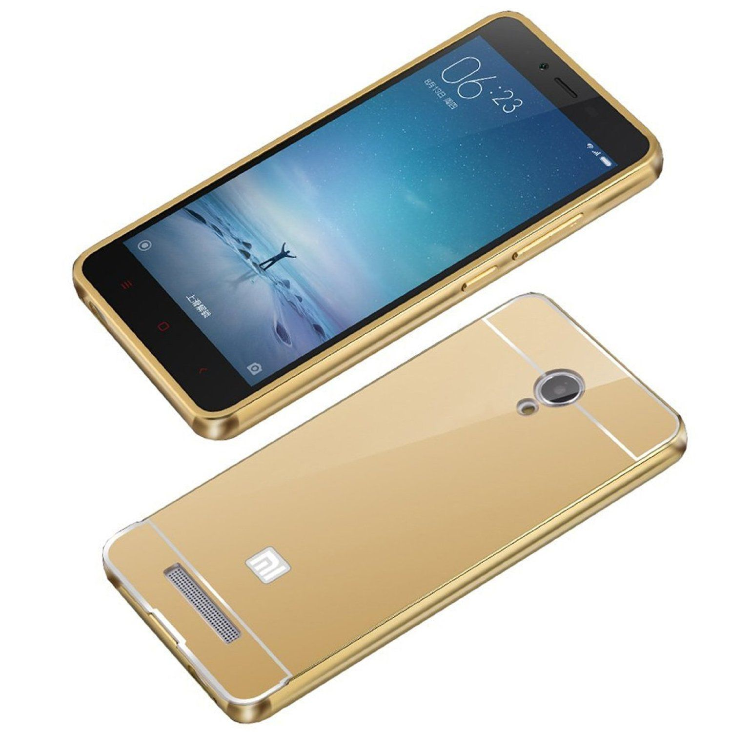 Aart Luxury Metal Bumper + Acrylic Mirror Back Cover Case For RedmiRedmi Note 3  Gold + Flexible Portable Thumb OK Stand