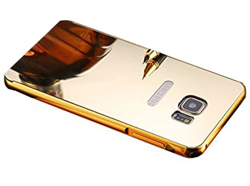 Aart Luxury Metal Bumper + Acrylic Mirror Back Cover Case For SamsungNote5  Gold + Flexible Portable Thumb OK Stand