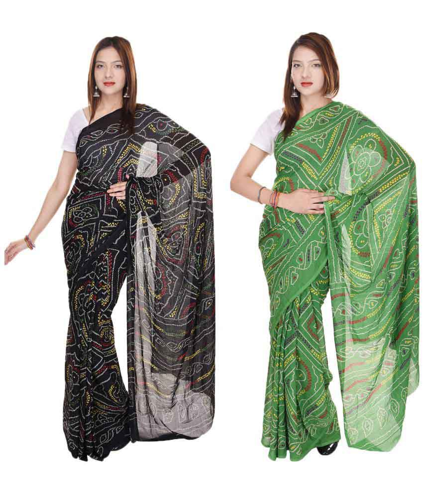 JBK Arts Multicoloured Crepe Saree Combos