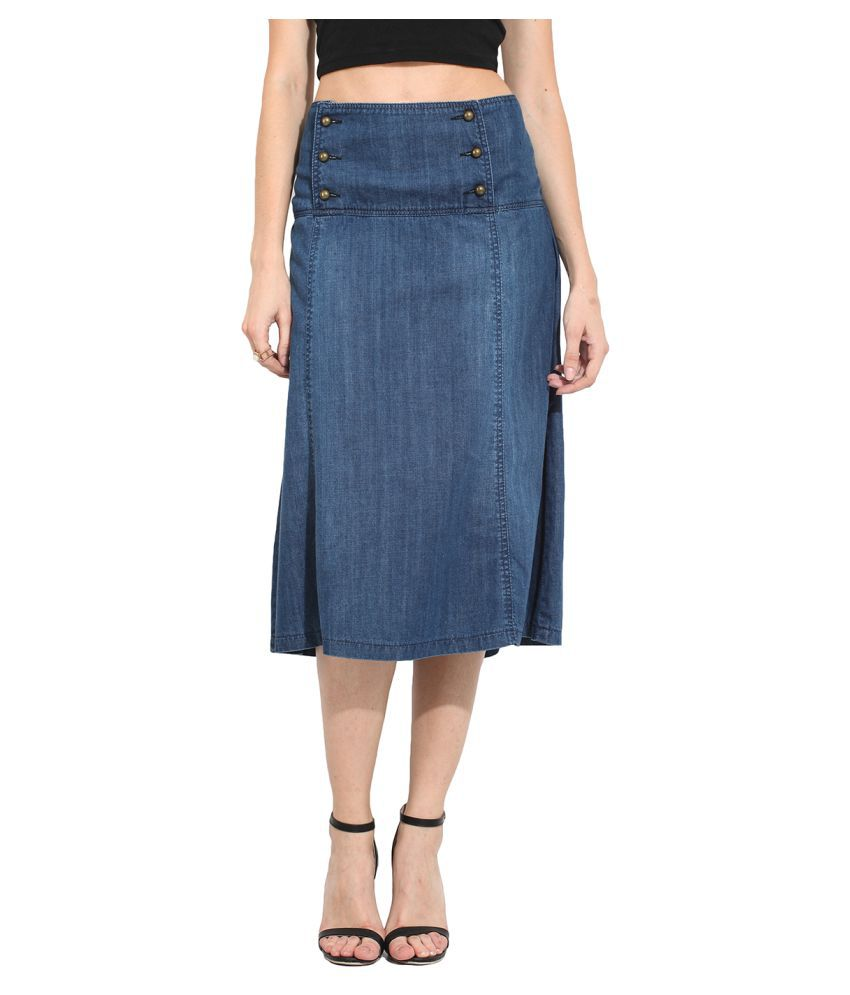 Buy Mirika Blue Denim Straight Skirt Online at Best Prices in ...
