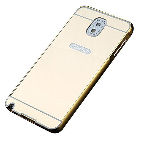 Aart Luxury Metal Bumper + Acrylic Mirror Back Cover Case For Samsung NOTE 3 Gold + Flexible Portable Thumb OK Stand