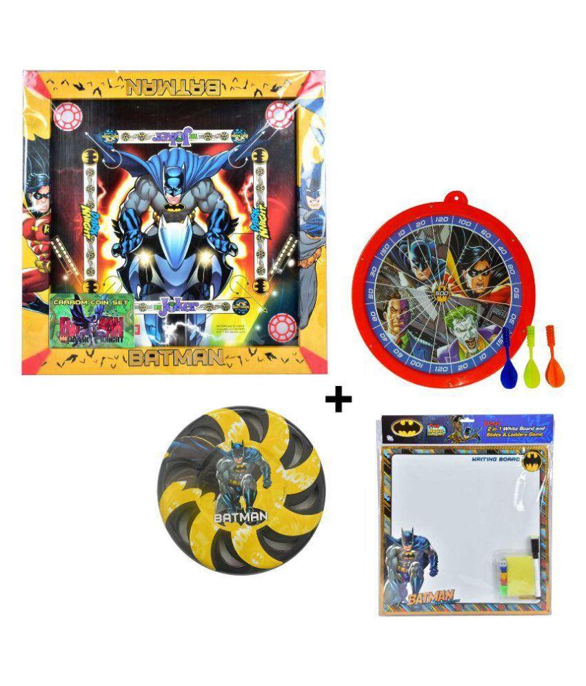 Batman Multicolor Carrom Board, Dart Board, Flying Disc and Writing Board