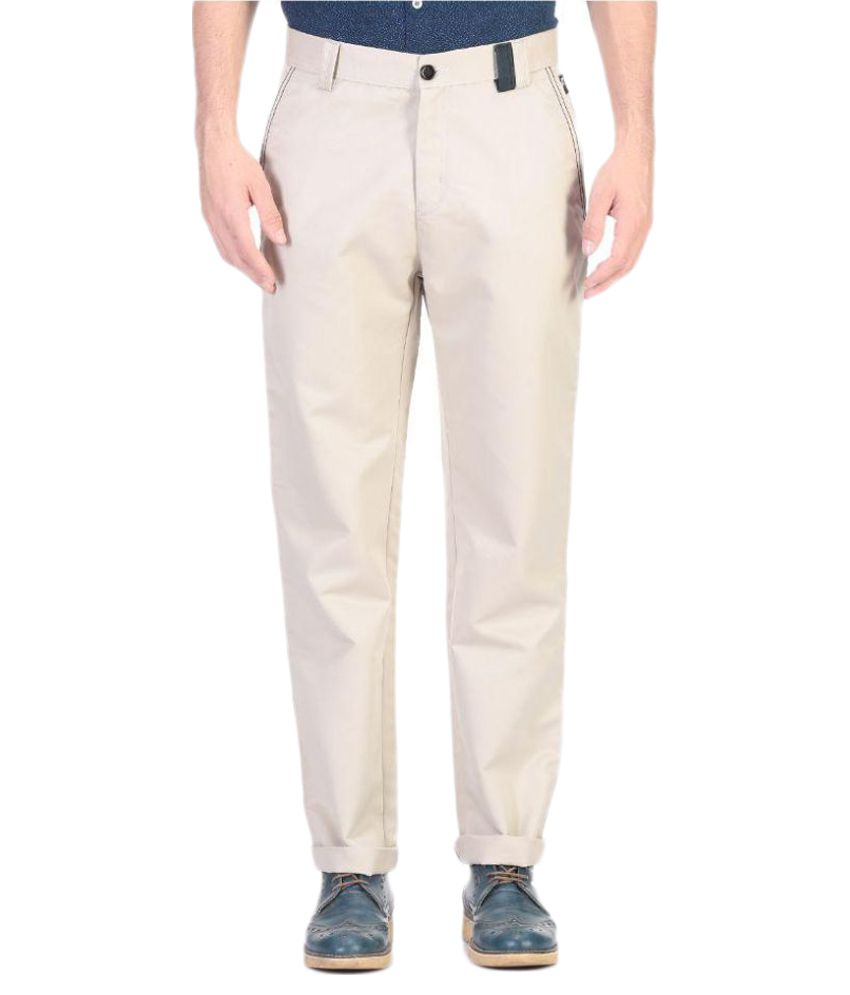 Vandnam Fabrics Off White Slim Flat Trouser