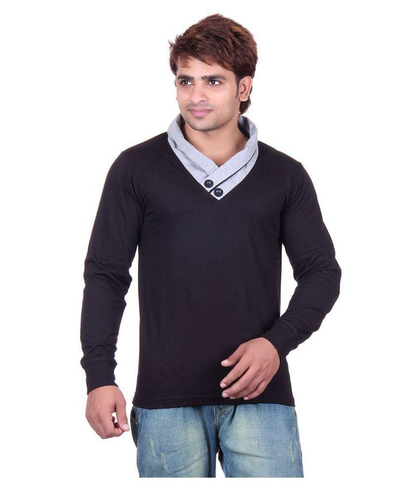 Vivid Bharti Black High Neck T-Shirt