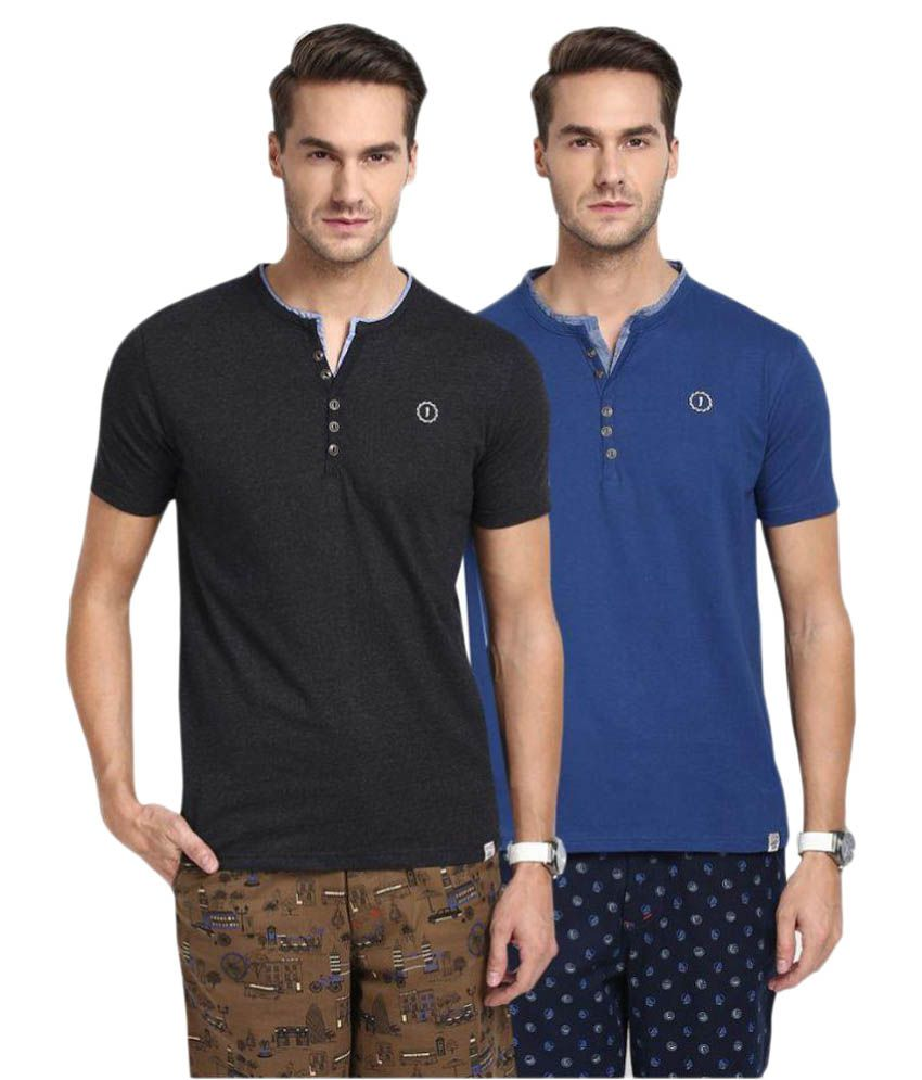 Joven Multi Henley T-Shirt Pack of 2